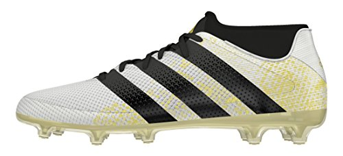 adidas Ace 16.2 Primemesh Fg/Ag, Botas de Fútbol para Hombre, Blanco  (Ftwr White/Core Black/Gold Met.), 40 2/3
