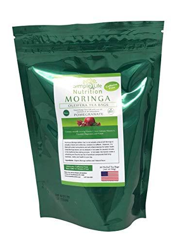 Simple Life Nutrition Organic Moringa Oleifera Tea - Packed with Antioxidants/Vitamins/Minerals (Pomegranate)