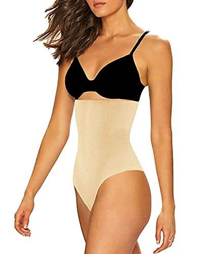 FLORATA Womens High Waist Panty Body Shaper Slim Tummy Control Underwear Cincher Thong,Beige,Medium/Large (Waist 25-30inch)