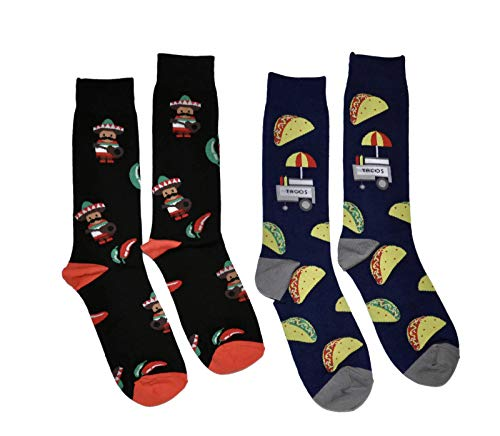 (Bop Classy Mens Fun Novelty Crew Socks - 2 Pairs (Taco & Chilli))