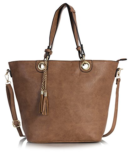 Big Handbag Shop - Borse a spalla donna Design 7 - Medium Tan