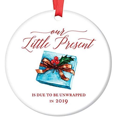 2019 Pregnancy Announcement Ornament Expecting Parents Porcelain Ceramic Ornament, 3 inch Flat Circle Christmas Ornament