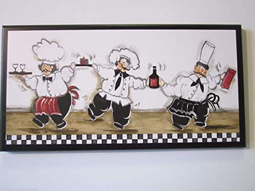 - Chef Kitchen Plaque, Bistro French Chefs, Dancing with Wine, White Black Red - Wood Wooden Picture Wall Decor Sign Hanging Unique Unusual Gift Handcrafted Handmade USA America