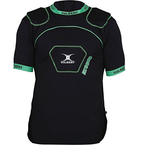 GILBERT Adult Atomic V2 Rugby Body Armour, Black/Green, S Atomic Rugby Body Armour