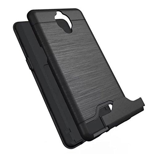 OnePlus 3 Caja femenina, Valenth 2 en 1 Funda trasero duro de Shell con ranura para tarjeta y la pata de cabra para OnePlus 3 color 1