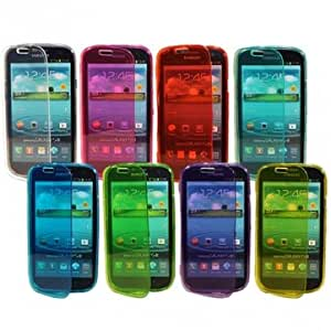 TPU Silicone Side Flip Hold Full Case For Samsung Galaxy S3 I9300 @ Color==Dark Blue