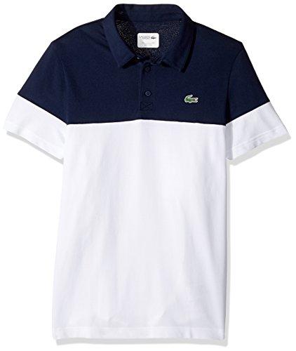 Lacoste Men's Short Sleeve Golf Ultra Dry Tech Pique Colorblock Polo, White/Navy Blue, 3XL (Ultra Shirt Pique Sport Cotton)