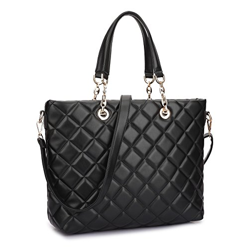 Dasein Faux Leather Quilted Tote Shoudler Bag Handbag with Chained Handles (Black Quilted Satchel)