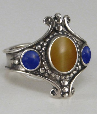 The Queen's Ring in Sterling With Fluorite and Rainbow Moonstone Made in America