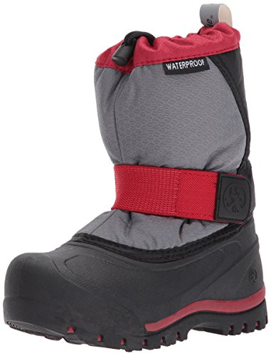 Northside Zephyr Snow Boot, Charcoal/Red, Size 5 Medium US Big Kid -
