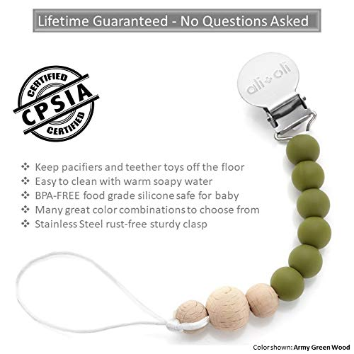 Modern Pacifier Clip for Baby - 100% BPA Free Silicone Beads (Army Green Wood) Binky Holder for Newborn - Infant Baby Shower Gift - Universal fit MAM - Philips Avent