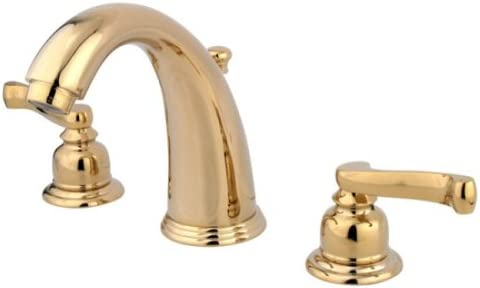 Kingston Brass KB982FL Royale Widespread Lavatory Faucet with Brass Pop-Up, Polished Brass,8-Inch Adjustable Center