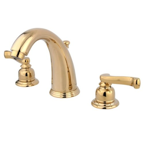 (Kingston Brass KB982FL Royale Widespread Lavatory Faucet with Brass Pop-Up, Polished)