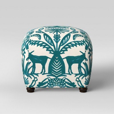 Poppy Ottoman Teal & Cream Animal Print - Opalhouse153; Teal & Cream Animal Print by opalhouse™