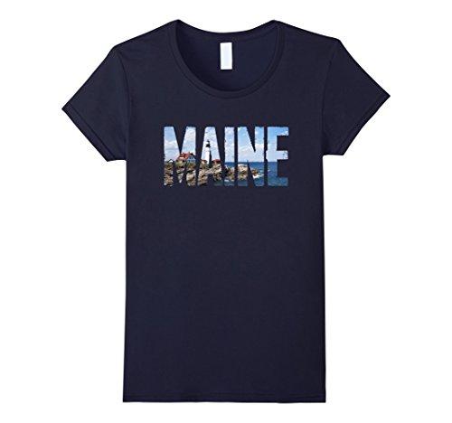 Womens Cool Design  Maine T Shirt Medium Navy
