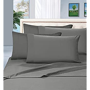 Elegant Comfort 1500 Thread Count Egyptian Quality 6 Piece Wrinkle Resistant Luxurious Sheet Set, Queen, Gray