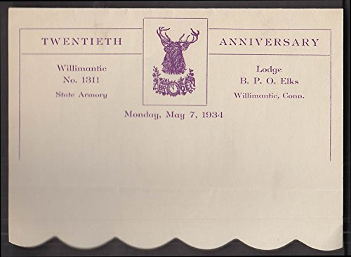 Willimantic Bpoe Elks Lodge 1311 20th Anniversary 5 7 1934