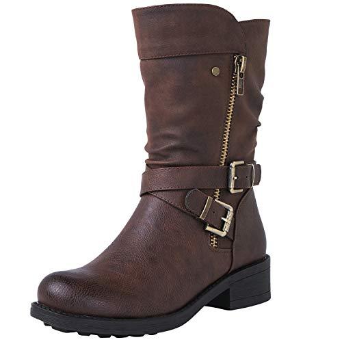 GLBALWIN Wide Zippered Buckle Mid Calf Boots