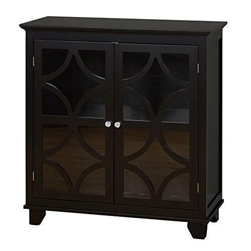 Cabinet Corner Glass Doors (Target Marketing Systems Sydney Accent Storage Cabinet with Trellis Overlay Glass Doors and 2 Shelves, Black)