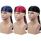Century Star Satin Silk Head Wrap Durag Long Tail Beanies for Men Women 3pcs Black&Wine Red&Navy