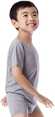 8858af8d6d3780 NASSE Boys Crew Neck Short Sleeve Undershirts Free-Cut Cotton Tee Shirts
