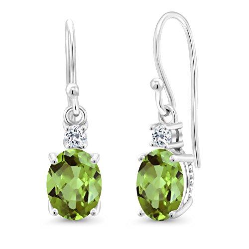 Gem Stone King 10K White Gold Green Peridot and White Topaz Earrings Gemstone Birthstone 2.82 - Gold Peridot Earrings Oval