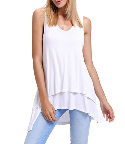 White Ruffled Cotton Camisole - Womens v Neck Sleeveless Loose Fit Summer Flowy High Low Swing Ruffle Long Casual Tank Tunic Tops Blouse t Shirts White Large