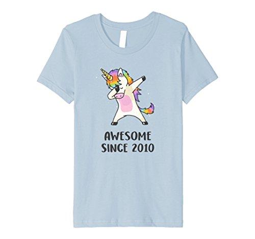 Kids Dabbing Unicorn Shirt Awesome Since 2010 8th Birthday TShirt 8 Baby Blue by Awesome Unicorn Shirt Co.