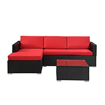 Modern Outdoor Garden, Sectional Sofa Set with Coffee Table - Black Wicker Sofa Furniture Set - Colors Red and Beige (Red)