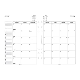 Filofax Month on Two Pages Refill for 2016 A5 Size Monthly Calendar, 8.25 x 5.75\