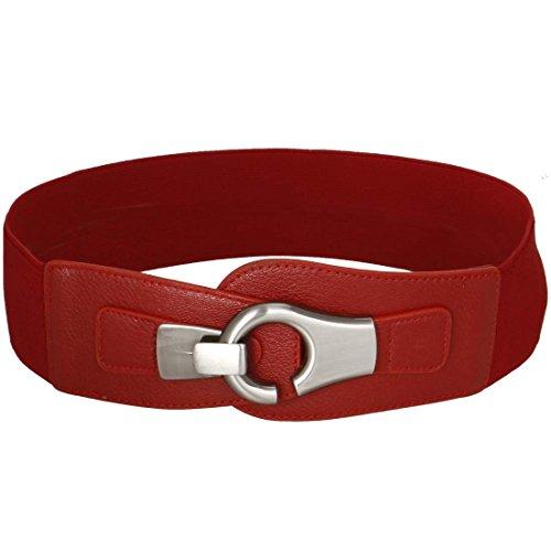 BMC Wide High Waist Silver Metal Hook Eyelet Locking Buckle Elastic Fashion Belt