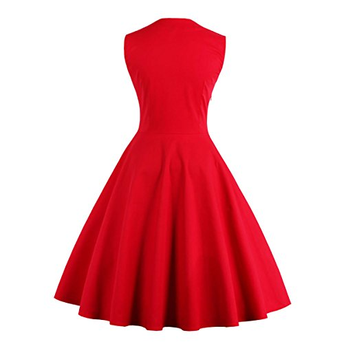 Rot 40 M1357 L Rockabilly Vintage 50er Cocktail EU Retro DISSA Kleid Damen 1Hxqf8fwg