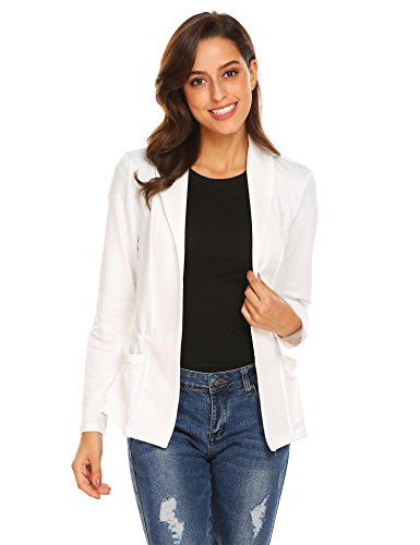 Long Sleeve Open Front Shawl Collar Work Office Blazer Jacket White Medium ()