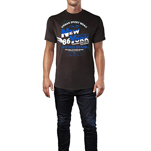 Sinus Art ® Herren T Shirt New York Vintage Denim ( Chocolate ) Crewneck Tee with Frontartwork