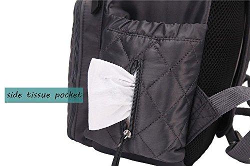amyamy bebé pañal pañales bolsa o mochilas Gran Capacidad con almohadilla de pañales para carrito negro negro gris