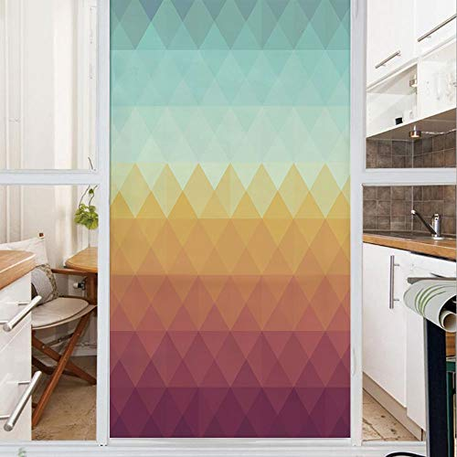 Decorative Window Film,No Glue Frosted Privacy Film,Stained Glass Door Film,Mosaic Inspired Abstract Checkered Pattern Pastel Retro Rhombus Tile Decorative,for Home & Office,23.6In. by 78.7In Turquois