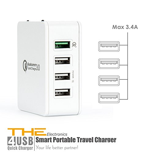 Qualcomm Certified  The Electronics Quick Charge 3 0 Usb Fast Charging Us Travel Ac Wall Adapter For Samsung Motorola Nokia Htc Lenovo Smartphone Tablets  White 4 Port