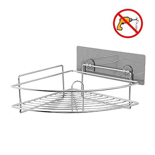 Acrylic Corner Shower - HEBE Adhesive Corner Bathroom Shelf Shower Caddy Wall Mounted Triangle Storage Organizer Basket for Kitchen Bathroom Shampoo Conditioner, Rustproof 304 Stainless Steel