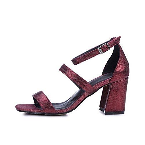 AllhqFashion Women's High Heels Soft Material Buckle Open Toe Solid Sandals Claret QvWlUSb