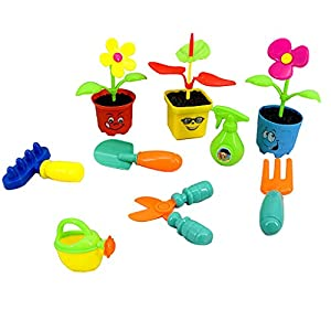 9 Pieces Pretend Garden Tools Toy Set Preschool Educational Toy for Toddlers, Planting Flowers Tool Set