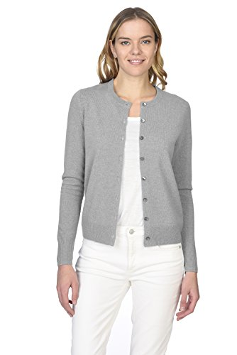 (State Cashmere Women's 100% Pure Cashmere Button Front Long Sleeve Crew Neck Cardigan Sweater)