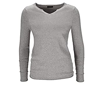 Tchibo Grey V Neck Pullover Top For Women