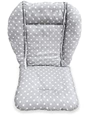 High Chair Pad,Ancho highchair/Seat Cushion Protective Film Breathable Pad (gray Background Stars Pattern)