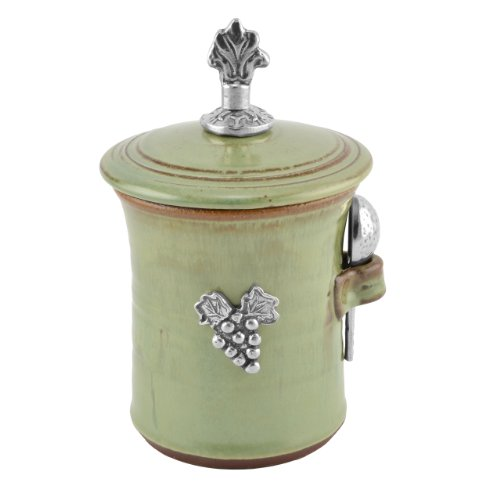 Oregon Stoneware Vineyard Salt Pot with Pewter Finial, Pistachio (Ceramic Pistachio Glazed Green)