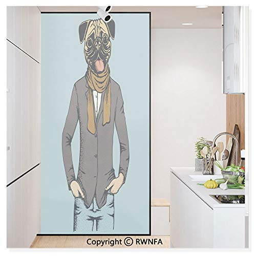 (RWN Film Window Films Privacy Glass Sticker Abstract Image of a Dog with Human Proportions with Jacket Scarf and Jeans Absurd Static Decorative Heat Control Anti UV 30In by 59.8In,Taupe Brown Blue)