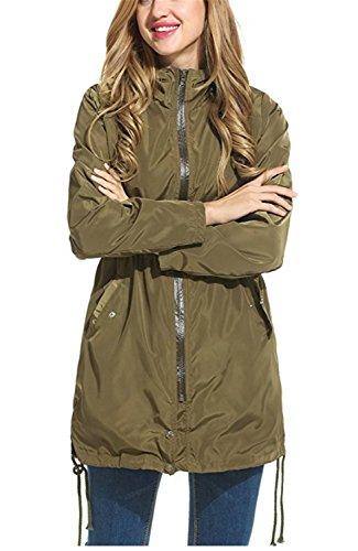 Capucha de Abrigo Chaqueta de con Ropa Outwear Verde de Mujer Rompevientos Casual Mujer Mujer Chaquetas YOGLY Impermeable Windbreaker wgqO0Ox