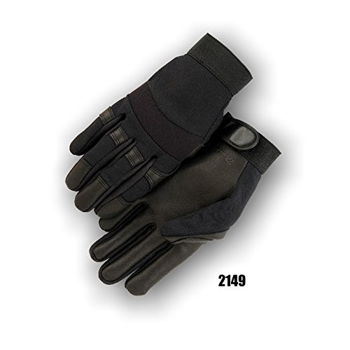 (12 Pair) Majestic BLACK DEERSKIN PALM GLOVES WITH MESH BACK - XTRA SMALL, BLACK(2149/7) by Majestic (Image #1)
