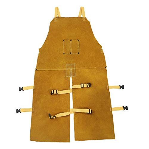 Mufly Welding Bib Apron With Adjustment Split Leg and Front Pocket Yellow Cowhide Split Leather Safety Apparel,Fire&Wear Resistant,43-InchX 25-Inch