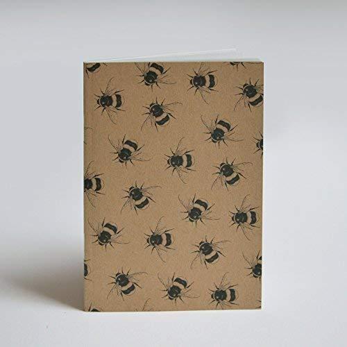 Mini-Hummel-Kunstmuster auf A6 recyceltem Notizbuch Hummel-Geschenk.