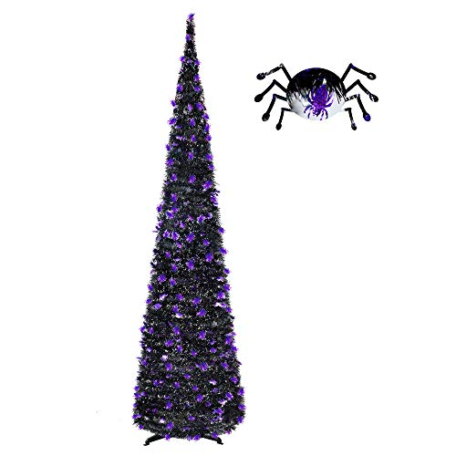 5FT Pop Up Tinsel Slim Trees for Halloween Decoration with Plump Shiny Spider sequins,Collapsible Artificial Pencil Halloween Xmas Tree with Plastic Stand for Fireplace & Office &Classroom,Party Decor -